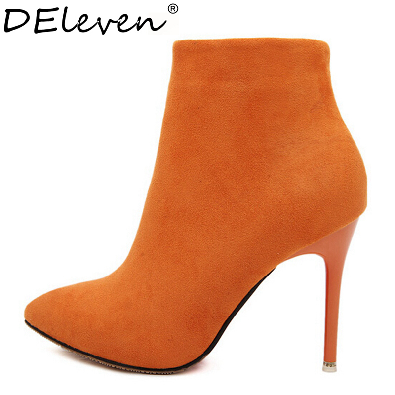Sexy Women Boots Solid Flock Suede Zip High heels Boots Lady Stiletto Pointed toe Ankle Boots Martin Boot Orange Blue Rose Black<br><br>Aliexpress