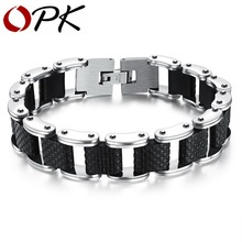 OPK Square Genuine Sillcone Mens Bracelet Stainless Steel Motorcycle Biker Chain Design Casual Style Double Safety Claspes GS832
