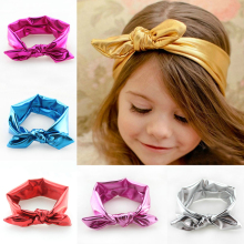 Korean junior girls stretch elastic headwrap rabbit ear turban knot bow glitter headband head wear