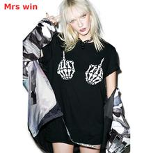 Mrs win Punk Skull T-shirt Punk Shirt Goth Gothic Clothing Lolita Rock Hip Hop Dance Costumes Kpop Hippie Ripped Hipster Vogue(China)