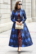 Blue Trench Long Coat O-neck Long Sleeve Women Overcoat Elegant High Quality Flowers Printed Slim Fall Outwear