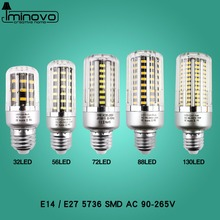 Super Bright LED Bulb Light E27 LED Lamp E14 30 38 54 85 105 115 125 LEDs SMD5736 220V Corn Bulb Chandelier Candle Home Decor(China)