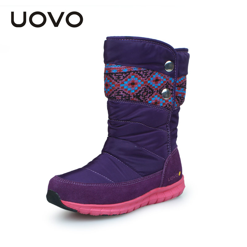 UOVO 2017 Winter Girls Boots, Splash proof Girls Winter Boots,Nonslip Girls Shoes Thermal Kids Boots For Girls,Purple/Rose/Black<br><br>Aliexpress