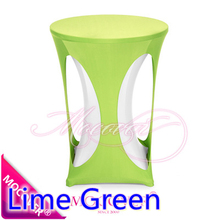 Lime green colour spandex cocktail table cover with hole lycra table cloth for wedding banquet party high bar table decoration(China)