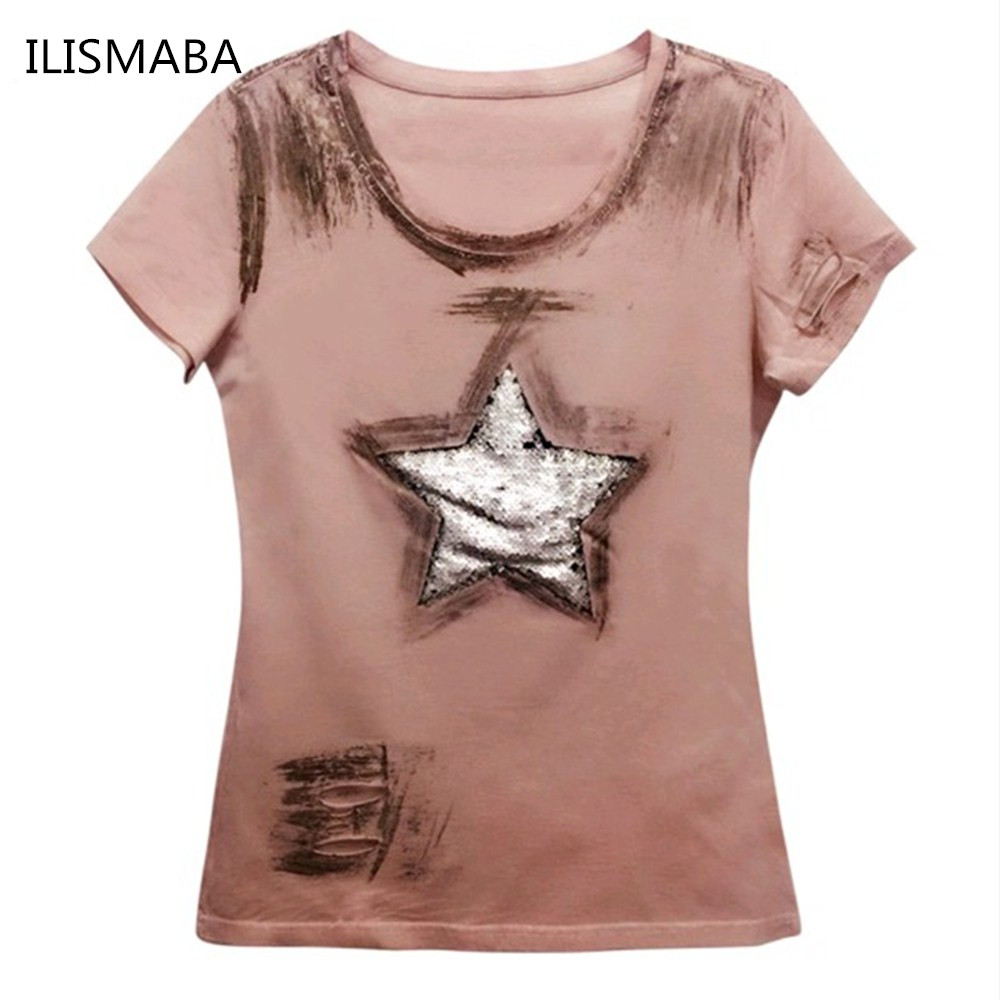 ILISMABA fashion t shirt women 2017 new short sleeve summer Large five-pointed star super flash holes pink summer shirt XL XXL(China (Mainland))