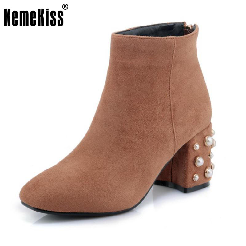 KemeKiss Size 32-42 Women Mid Calf High Heel Boots Zipper Beading Thick Heels Boots Cold Winter Warm Shoes For Woman Footwears<br>