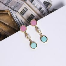 Sweet Candy Color Double Circle Simulated Pearl Drop Earrings For Women Trendy Ear Accessories Fashon Jewelry Cute Gifts