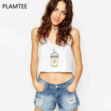 PLAMTEE New Appearl Women Tank Tops V-Neck Sleeveless Female 2017 Summer Print T Shirt Casual Beach Ladies Camis Plus Size S~2XL