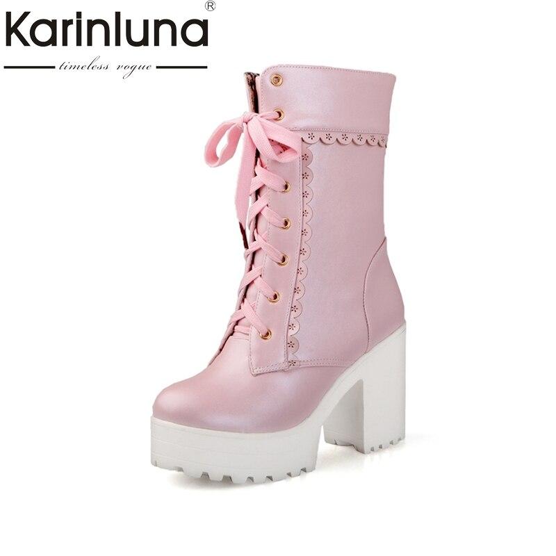 Karinluna 2017 Spring And Autumn Lace-Up Sweet Platform Ankle Boots Floral Border High Square Heel Women Shoes Big Size 33-42<br>