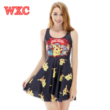 Pikachu Women Dress Kawaii Anime A Line Girls Tank Dresses Harajuku Sleeveless Casual Summer Skater Dress Vestidos Mulher WXC
