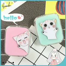 Lymouko Hot Sale Cartoon Cute Cat Portable with Mirror Contact Lens Case for Lovers Gift Contact Lenses Box