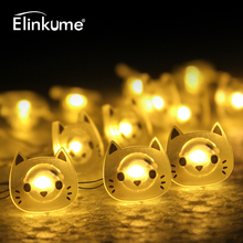 Elinkume Cartoon 2M LED String Light 20LEDs Cat Copper Wire LED Fairy Light Battery Christmas Wedding Party decoration Lights