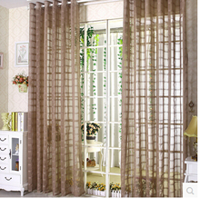 Korean solid window sheer panels tulle grid curtain,yarn voile blind curtains for living room,hooking top