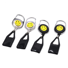 2 X Lighter Leash Safe Stash Clip Retractable Keychain Smile Face Lighter Holder,Color and Pattern Send Randomly(China)