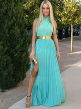 Real Sample Photo Halter High Neck Chiffon Open Back Mint Green Prom Dresses Backless Evening Gown with Gold Metal Belt