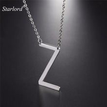 Starlord Initial Z Letter Pendants & Necklaces For Women Men Personalized Gift Alphabet Jewelry Stainless Steel Necklace GP2626(China)