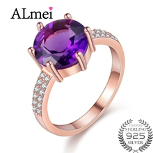 Almei 2.5ct Amethyst Female Purple Ring Rose Gold Color Jewelry Vintage Wedding Rings Silver 925 Birthtone with Box 40% FJ104(China)