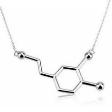 1Pc New Arrival Dainty Chemistry Element Pendants Dopamine Molecule Clavicle Necklaces Gold Silver Plated Female Jewelry