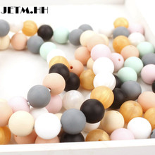 JETM.HH10pcssilicone Teether Beads Diy Round Bead 19mm Chew Necklace Bpa Free Silicone Teethers Baby Silicone Teething Beads(China)