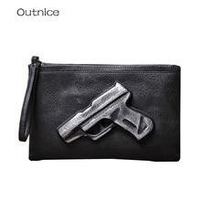 Unisex Violent Stylish Retro Envelope Bag 3D Gun Handbag Fashion Pistol Bag Day Clutches Vintage Messenger Bag  PU Leather
