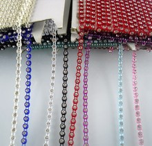 Diy SS12 A grade clear crystal glass stones 3mm rhinestones plastic cup garment shoes wedding decorations banding chain 2yards(China)
