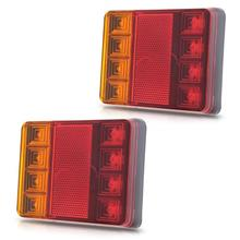 2Pcs Waterproof 8 LED Taillights Red Yellow Rear Tail Light DC 12V for Trailer Truck Boat Car Styling Warning Light Good Quality