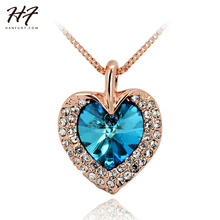 Rose Gold Color The Heart of Ocean Austrian Blue Crystal Pendant Necklace Wholesale N116