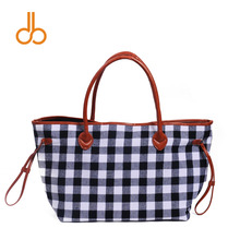 Plaid Women Handbag Red Navy Black Check Design Tote Bag Canvas Material Large Capacity Purse DOM103377(China)