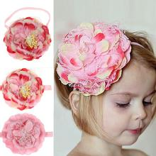 Kids Hair Accessories Girls Hair Elastic Lace Chiffon Sweet Flower Patern Una Flor De Tela Para Pelo #2365