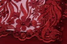 In Stock Red African Lace Fabric, 3D Beaded Lace Fabric For Women Dress, Latest Style African Tulle Lace Bridal Net Lace MR573B