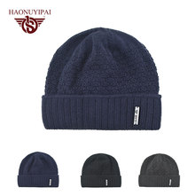 New Fashion Winter Warm Knitted Hats Caps Double layer Skullies Beanies Solid Cotton Bonnet Hat Gorro For Men Mark HNYPA113