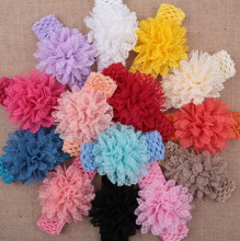 Promotion Wavy Lace Fabric Flower & Candy Color Elastic Hair Band Girls crochet Headbands 10pcs/lot(China)