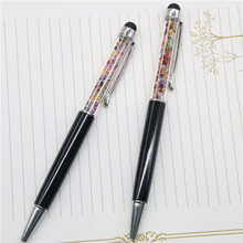 2 Pcs New Design Diamond Ballpoint Pen 0.7mm Crystal Pens Stationery Ballpen Material Escolar Promotional Pens Rainbow Color(China)