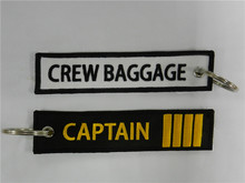 Captain Four Bars Crew Baggage Keychain Airlines Aviation Gift Key Chain Luggage Tag Zipper Pull Woven Embroidery Tags 13x2.8cm