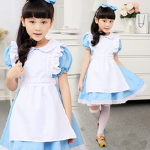 children girl blue alice in wonderland halloween costume for kids party lolita maid dress cosplay Fancy carnival costumes girls(China)