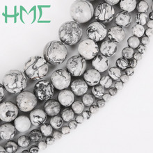 Hot Selling Natural Grey Map Stone Beads Dia 4 6 8 10 12mm Hole Size 1mm 32-95pcs/bag for DIY Bracelet Necklace Making(China)
