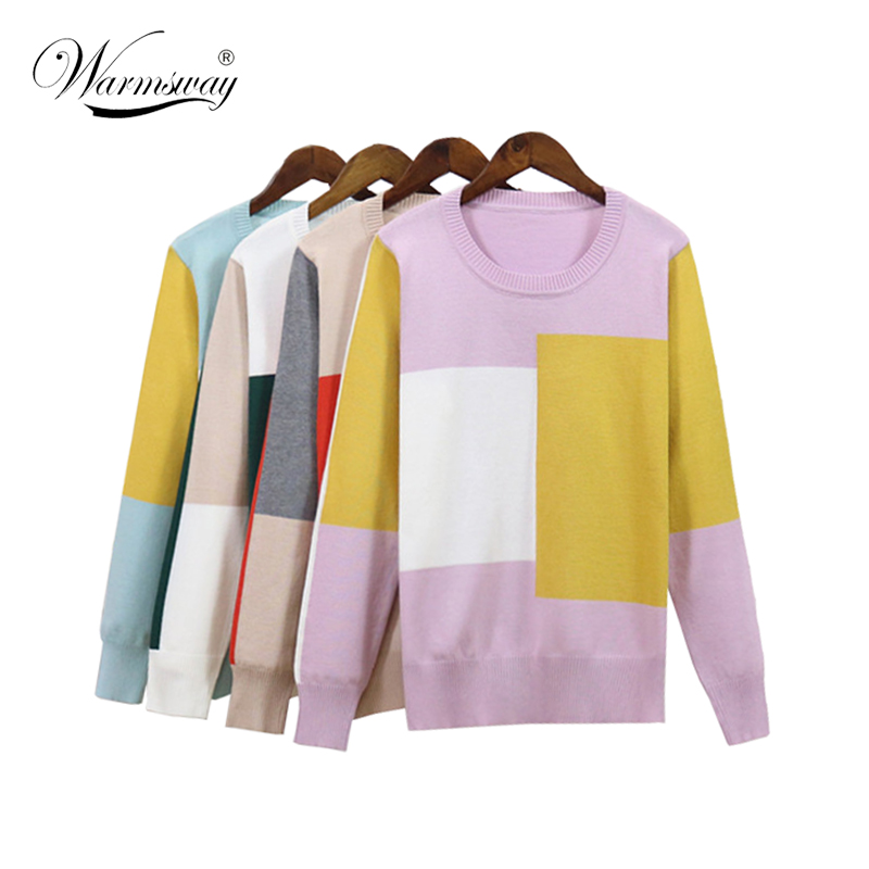 Women Sweater Fall Winter Contrast Color Patchwork Loose Long Sleeve Female Soft Pullovers Casual Split Big Size Top B-162