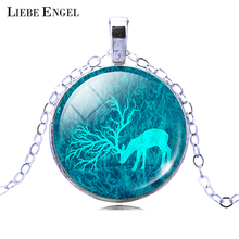 LIEBE ENGEL Fashion Deer Necklace&Pendant Vintage Jewelry For Women Glass Cabochon Statement Necklace Fine Jewelry 2017