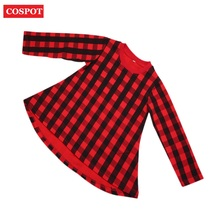 COSPOT Girls Dress Baby Dress Red Plaid Baby Girl Clothes A-Line Gril Dresses Princess Bebes Casual Spring 2-10Yrs 2018 New D50(China)