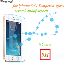 wangcangli 2Pcs /Lot Arc 0.26mm For iphone 5s Tempered Glass Phone screen saver 2.5D for iPhone6s 6 plus protective film