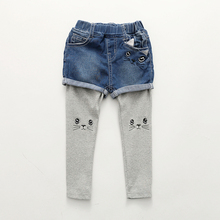Kz-8150 Baby False Two Paper Hit Underpant Spring New Pattern Garment Children's Garment Children Kitty Pants Tide(China)