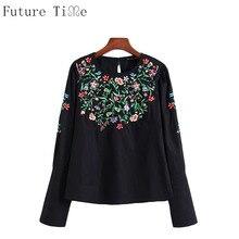 Будущее время Вышивка блузка Для женщин с цветочной вышивкой черная рубашка Женский О-образным вырезом топы с длинными рукавами Для женщин...(China)