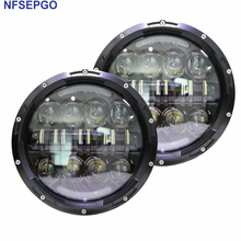 "NFSEPGO 2017 New Car Accessories 7"" Round 80w LED Hi/Lo Beam H4 Projector Headlight for Jeep Wrangler JK Land rover defender(China)"