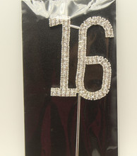 Sweet 16 Silver Crystal Rhinestone Cake Topper 16th Birthday Bling Party Favor