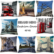 London Triumphal Arch Bridge Red Phone Booth Bus One Side Printing Home Decor Sofa Car Seat Decorative Cushion Cover Pillow Case