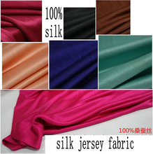 2015 New color Nature Silk Jersey Knit Fabric  100% silk 210g width130CM