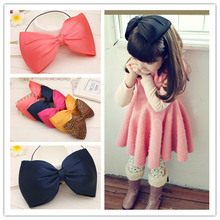fashion spring kids infant child girls head wraps tiara silk elastic ribbon headband satin big bows headwrap hair bands ST-95(China)