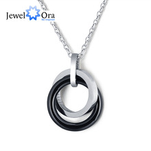 Trendy Black Ceramic Stainless Steel Unisex Round Necklace Cross Double Circle Pendant & Necklace Cheap Gifts(JewelOra NE101305)(China)