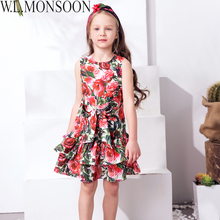 W.L.MONSOON Kids Dress Girls Clothes 2017 Brand Girls Summer Dresses with Bow Rose Flower Layered Princess Dress for Children