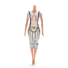 1 Set Doll Clothing Cartoon Letter Printing Doll Suits Lovely Short Sleeve T-shirts Pants For Barbie Dolls Accessories